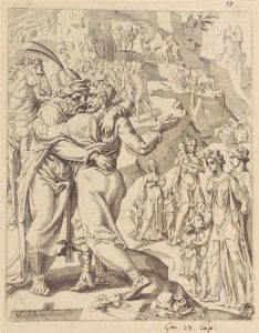 Maarten van Heemskerck (1498-1574), Die Versöhnung von Jakob und Esau.